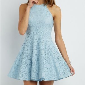 Light blue floral laced dress in LARGE